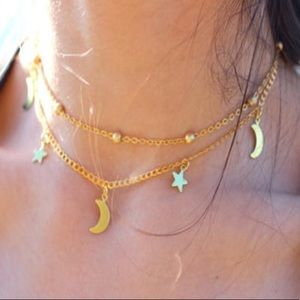 Jewelry - Moon/star dangly choker💛